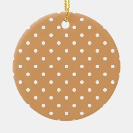 Brown and White Polka Dots Pattern. Double-Sided Ceramic Round Christmas Ornament
