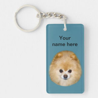 Brown and White Pomeranian Dog Keychain