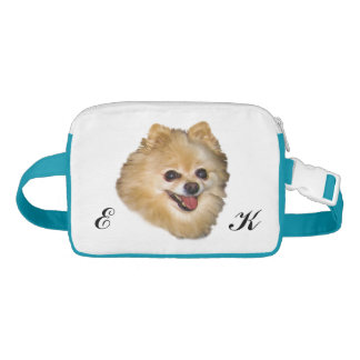 Brown and White Pomeranian Dog, Monogram Fanny Pack