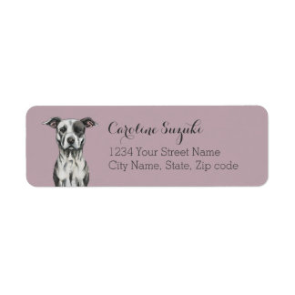 Brown and White Sitting Pit Bull Rendering Label