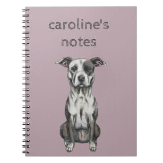 Brown and White Sitting Pit Bull Rendering Notebook