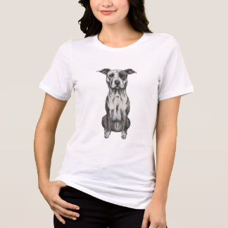 Brown and White Sitting Pit Bull Rendering T-Shirt