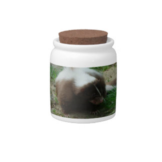 Brown and White Skunk  Candy Jar