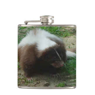 Brown and White Skunk Hip Flasks