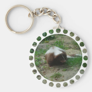 Brown and White Skunk Keychain