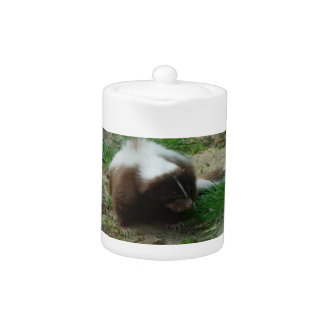 Brown and White Skunk  Teapot