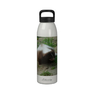 Brown and White Skunk Water Bottle