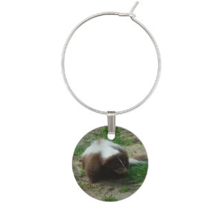 Brown and White Skunk Wine Glass Charm