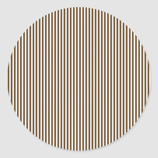 Brown and White Stripes Classic Round Sticker