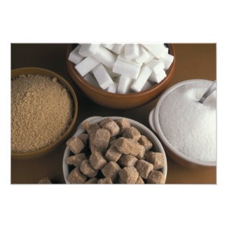 Brown and white sugars in cubes and powder photo print