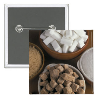 Brown and white sugars in cubes and powder pinback button