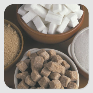 Brown and white sugars in cubes and powder square sticker