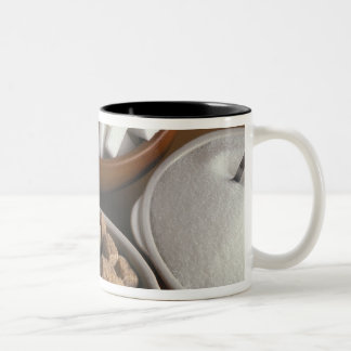 Brown and white sugars in cubes and powder Two-Tone coffee mug