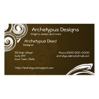 Brown and White Swirls Business Card
