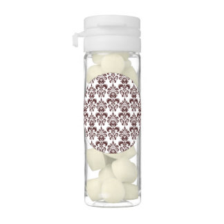 BROWN AND WHITE VINTAGE DAMASK PATTERN 2 CHEWING GUM FAVORS