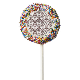 BROWN AND WHITE VINTAGE DAMASK PATTERN 2 CHOCOLATE DIPPED OREO POP