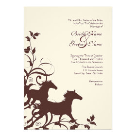 Brown and White Wild Horses Wedding Invitation