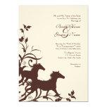 Brown and White Wild Horses Wedding Invitation