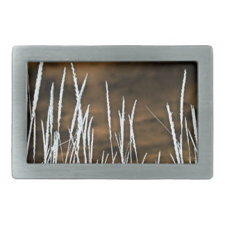 Brown and White Wild Weeds Nature Art Belt Buckle