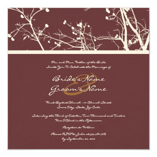 Brown and White Winter Tree Wedding Invitation