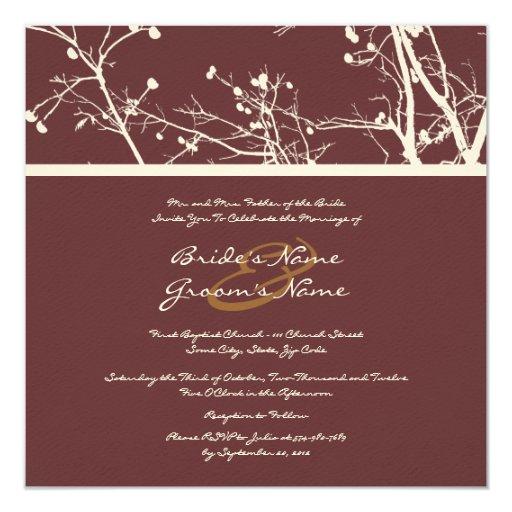 Brown and White Winter Tree Wedding Invitation