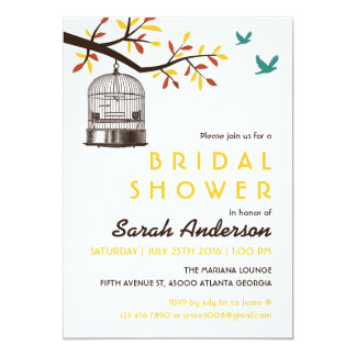 """Brown and Yellow Bird Cage Fall Shower Invitation 5"""" X 7"""" Invitation Card"""