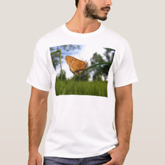 Brown and Yellow Butterfly on Long Grass T-Shirt