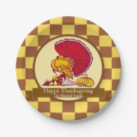 Brown and Yellow Checkered Thanksgiving Turkey 7 Inch Paper Plate