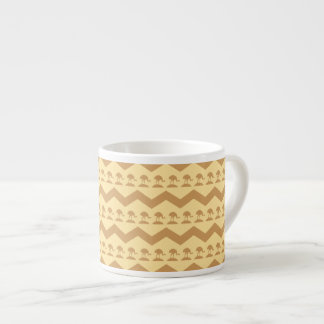 Brown and Yellow Chevrons and Birds Pattern Espresso Cup