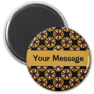 Brown and Yellow Circles 2 Inch Round Magnet