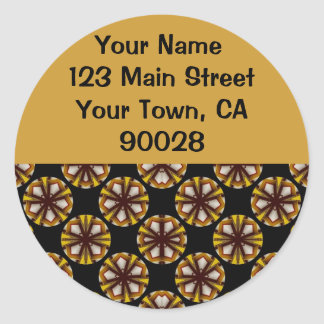 Brown and Yellow Circles Address Labels Classic Round Sticker