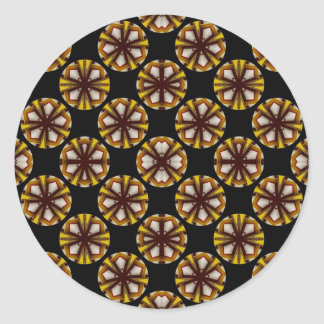 Brown and Yellow Circles Classic Round Sticker