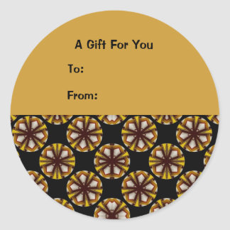 Brown and Yellow Circles Gift Tags Classic Round Sticker