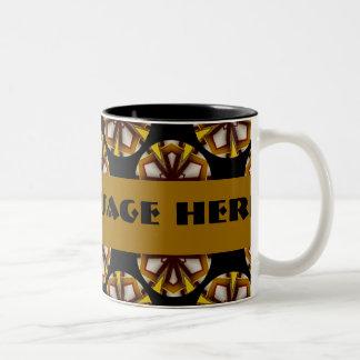 Brown and Yellow Circles Two-Tone Coffee Mug