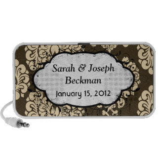 brown and yellow damask portable speaker