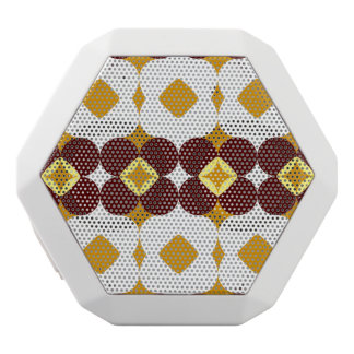 Brown and yellow flowers white bluetooth speaker