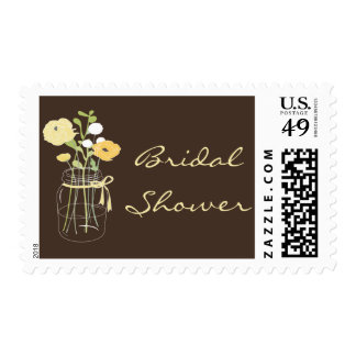 Brown and Yellow Mason Jar Bridal Shower Stamps
