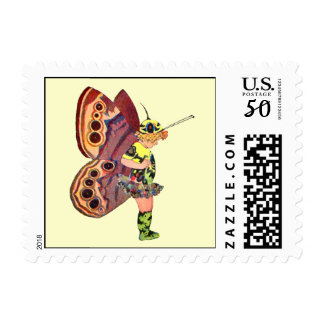 Brown and Yellow Pixie Fairy Postage