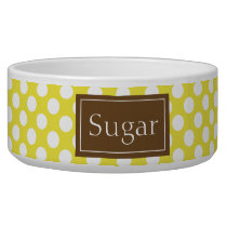 Brown And Yellow Polka Dots Pattern With Name Bowl