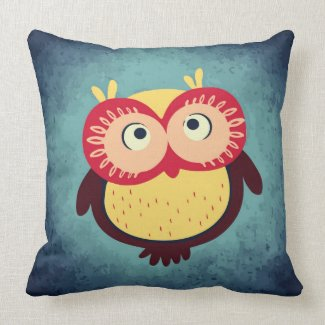 Brown and Yellow Red-Eyed Baby Owl Throw Pillow