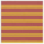 [ Thumbnail: Brown and Yellow Striped/Lined Pattern Fabric ]