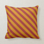 [ Thumbnail: Brown and Yellow Striped/Lined Pattern Pillow ]