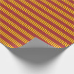 [ Thumbnail: Brown and Yellow Striped/Lined Pattern Wrapping Paper ]