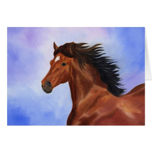 Brown Andalusian horse card