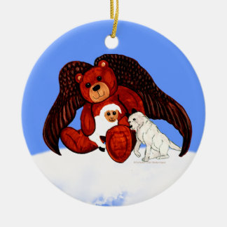Brown Angel Bear Ceramic Ornament