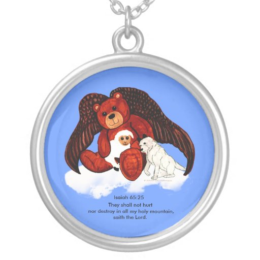 Brown Angel Bear Round Pendant Necklace