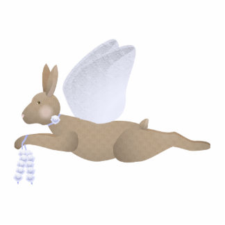 Brown Angel Rabbit With Blue Wings Photo Sculptures