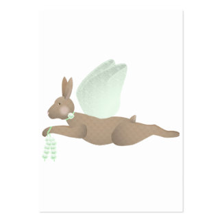 Brown Angel Rabbit With Green Wings Large Business Card