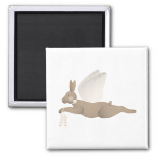 Brown Angel Rabbit With Orange Wings 2 Inch Square Magnet