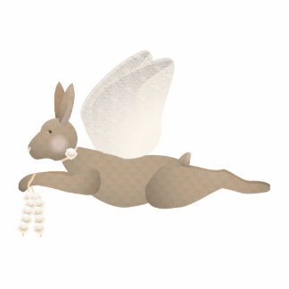 Brown Angel Rabbit With Orange Wings Photo Cut Outs